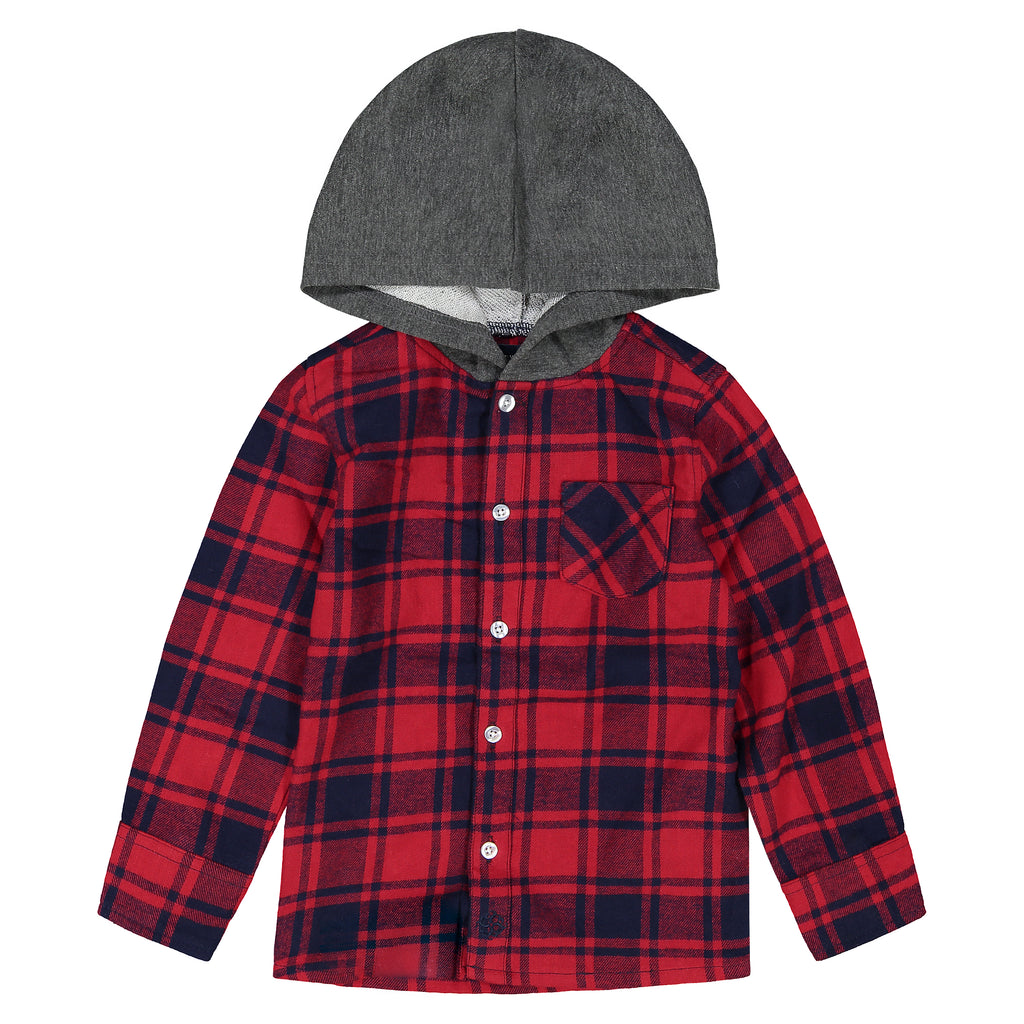 Boys Red And Black Plaid Button Down Hoodie - Andy & Evan