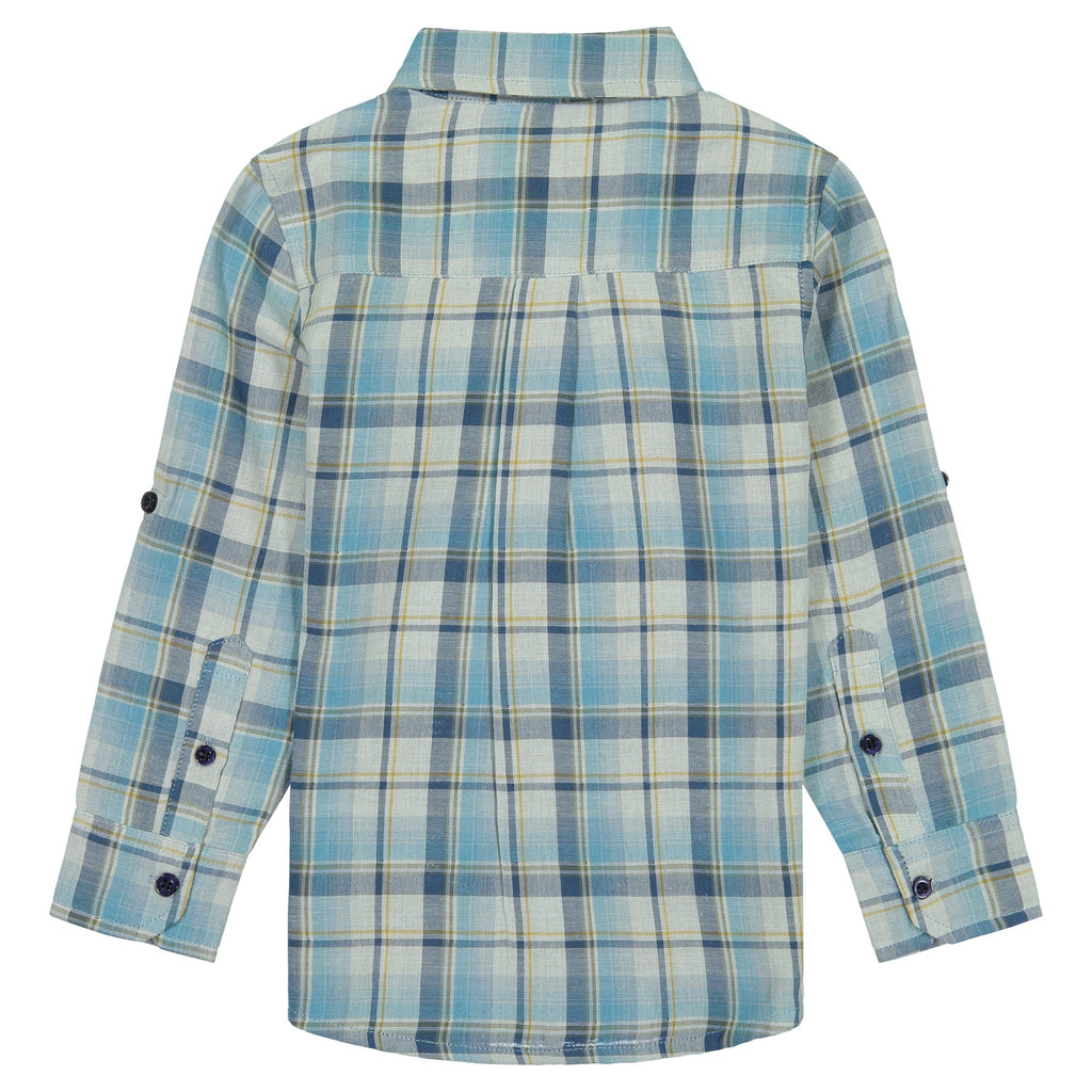 Boys Aqua Plaid Flannel Button Down Shirt - Andy & Evan