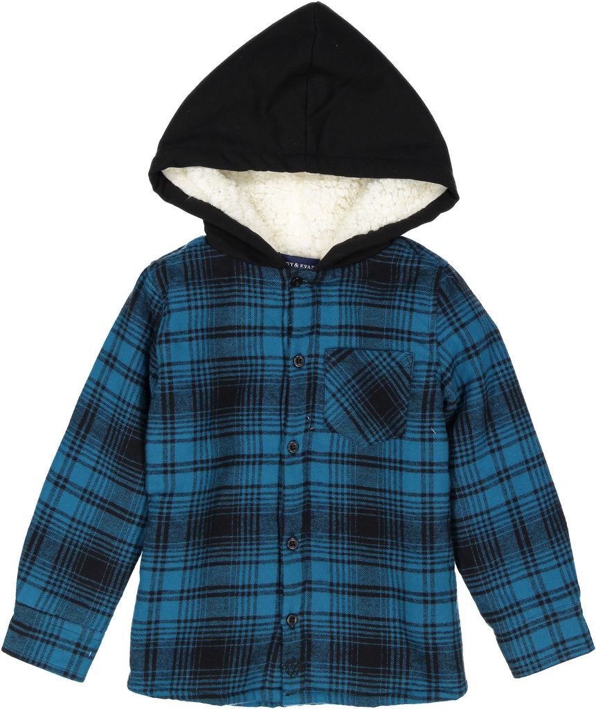 Boys Blue And Black Sherpa Lined Button Down Hoodie - Andy & Evan