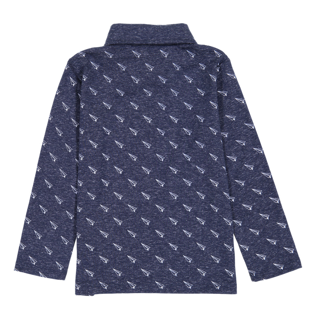 Boys Navy Long Sleeve Button Down Polo Shirt With Paper Plane Print - Andy & Evan