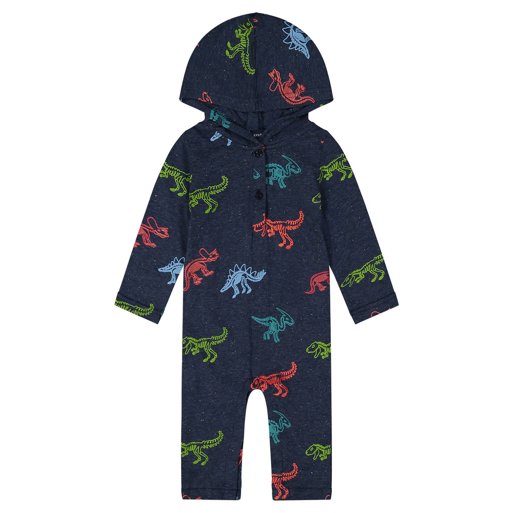 Baby Boy Dark Blue Playsuit With Colorful Dinosaur Print - Andy & Evan