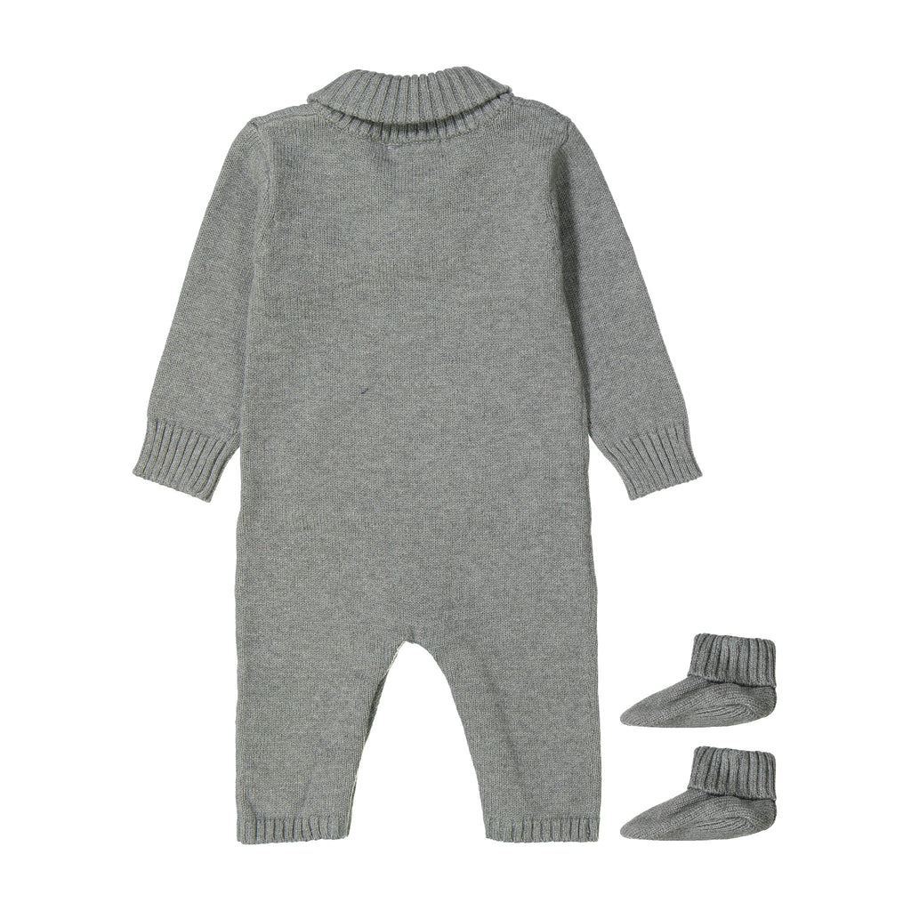 Baby Boy Grey Shawl Collar Playsuit With Matching Booties - Andy & Evan