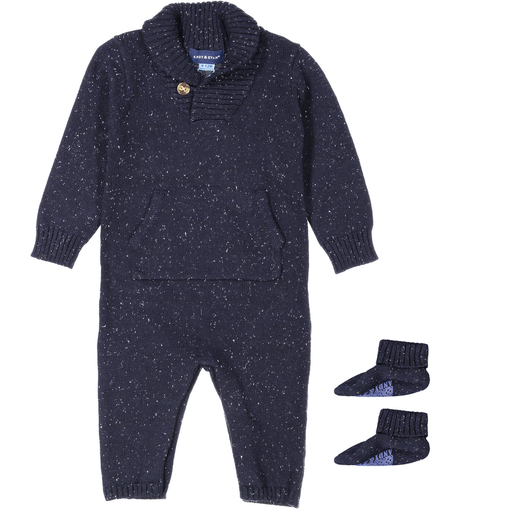 Baby Boy Navy Shawl Collar Playsuit With Matching Booties - Andy & Evan
