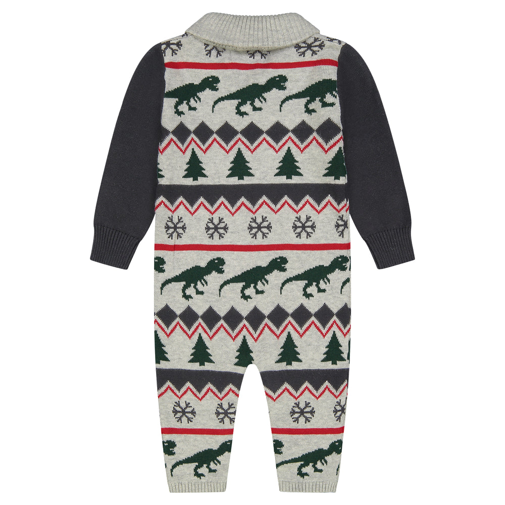 Baby Boy Shawl Collar Dino Holiday Fair Playsuit Booties - Andy & Evan