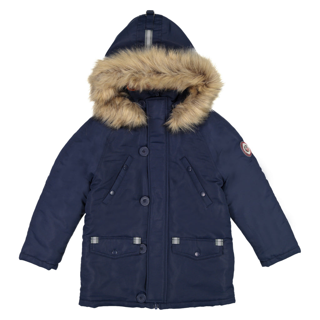 Boys Navy Water Resistant Parka - Andy & Evan