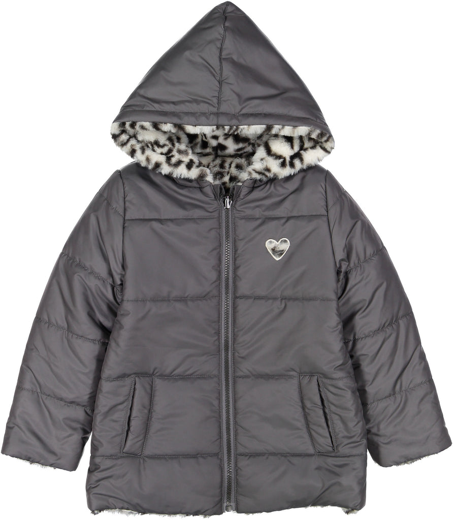Girls Reversible Leopard Puffer Coat - Andy & Evan