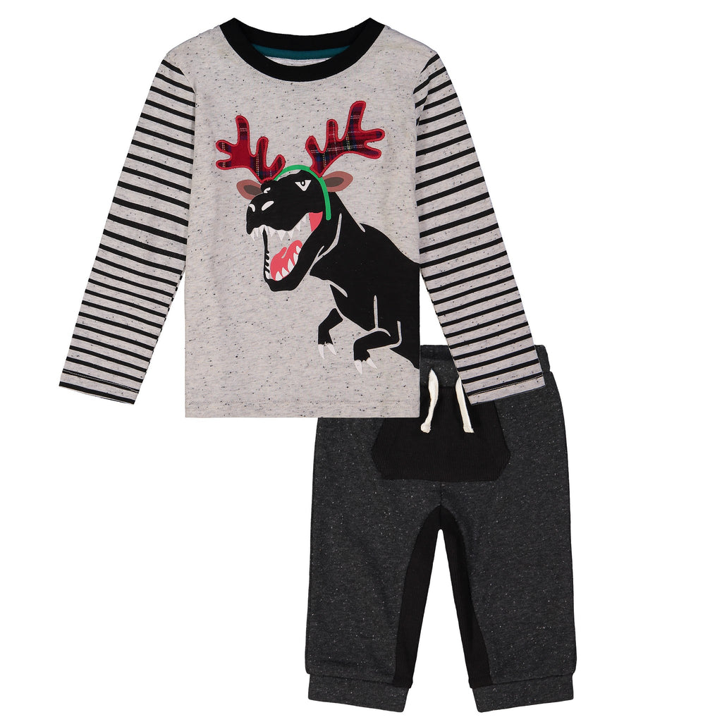 Dino Moose Ears Long Sleeve Tee Set W/ Jogger - Andy & Evan