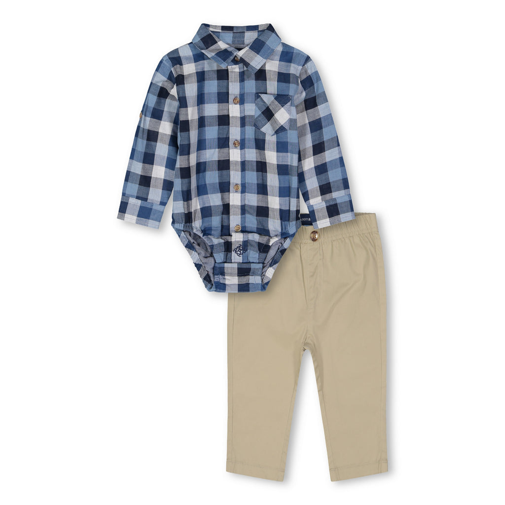 Blue Plaid Shirtzie Set - Andy & Evan