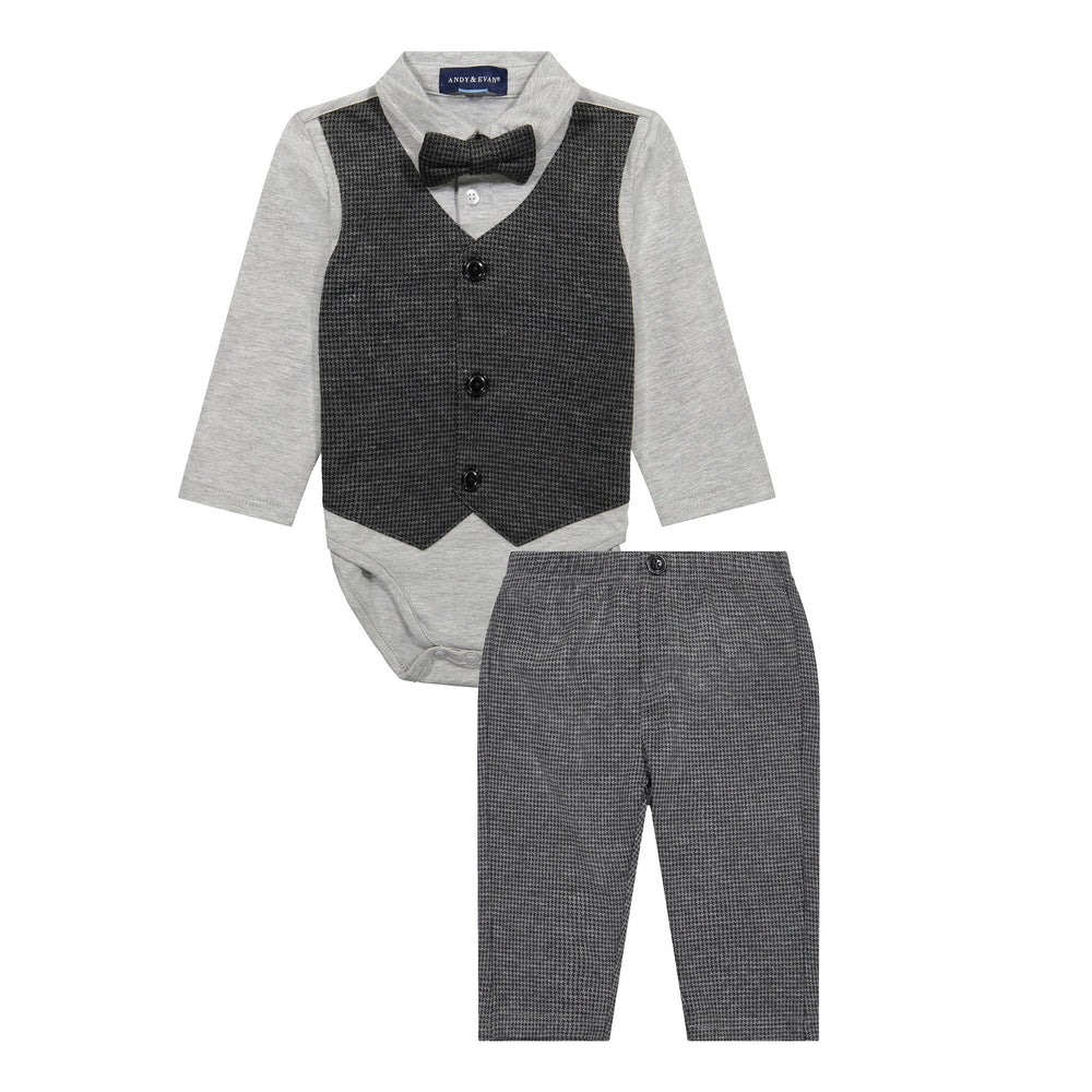 Infant Boy Houndstooth Vest Shirtzie Set - Andy & Evan