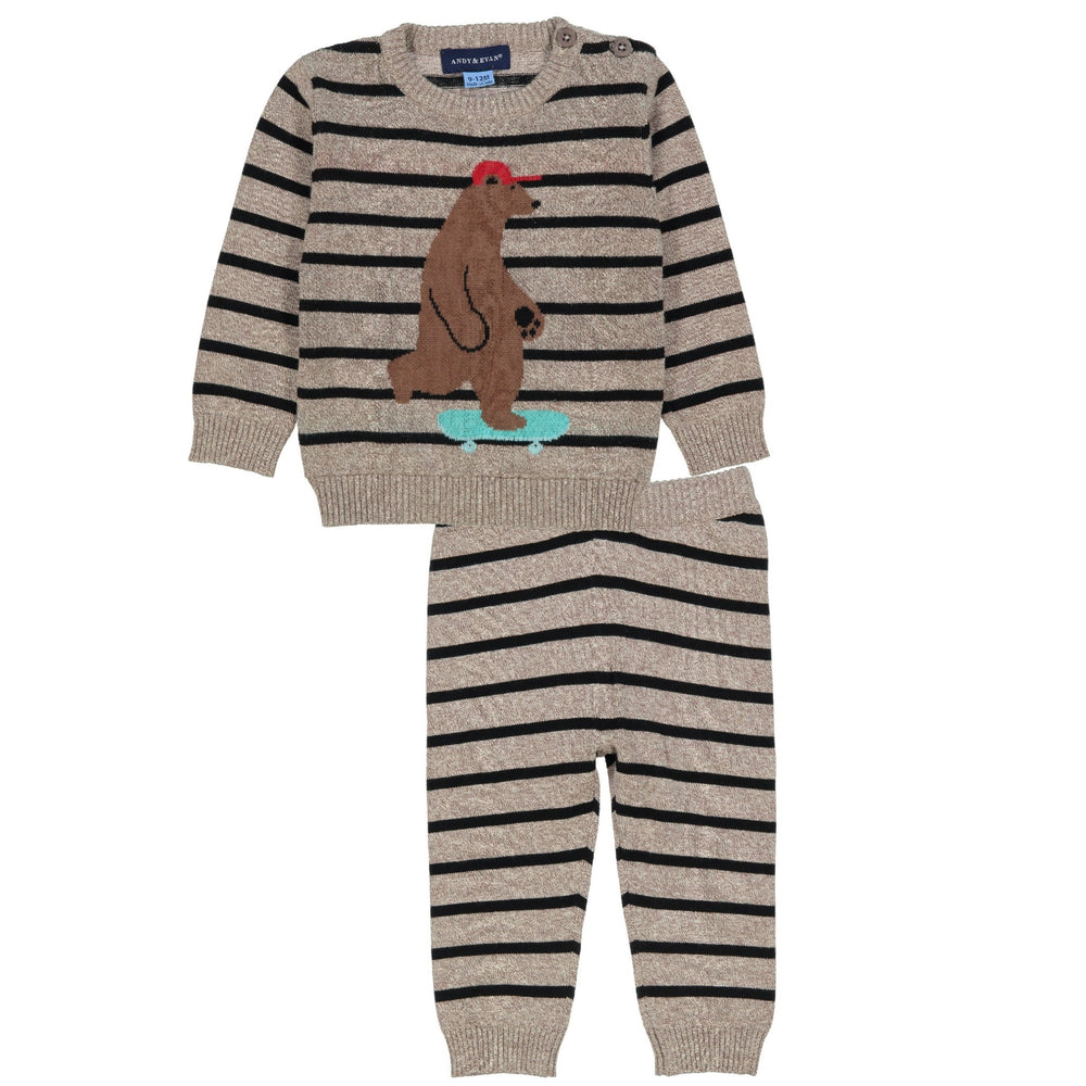 Boarding Bear Crew Neck Sweater Set - Andy & Evan