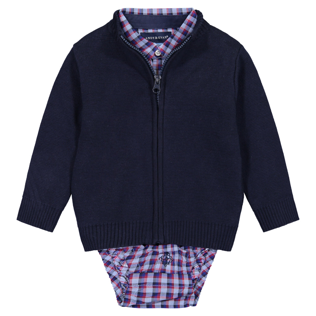 Infant Boys Navy Zip Sweater 3-Piece Set - Andy & Evan