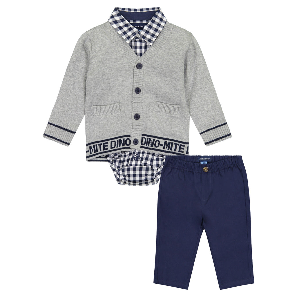 Three Piece Varsity Dino Print Sweater Set - Andy & Evan