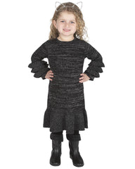 Black/Silver Ruffle Knit Dress