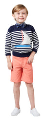 Navy Sailboat/Stripe Pullover