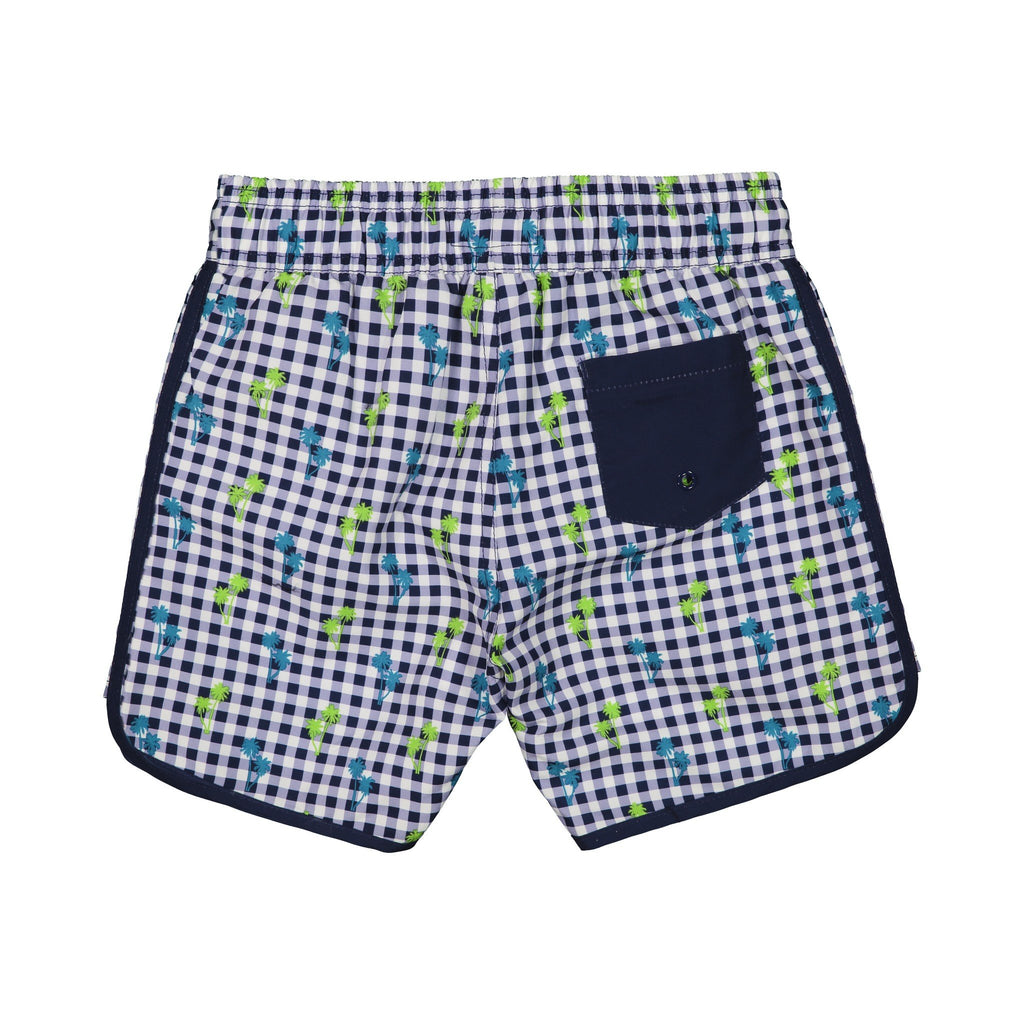 Infant Boys   Navy Gingham Swim Trunk - Andy & Evan