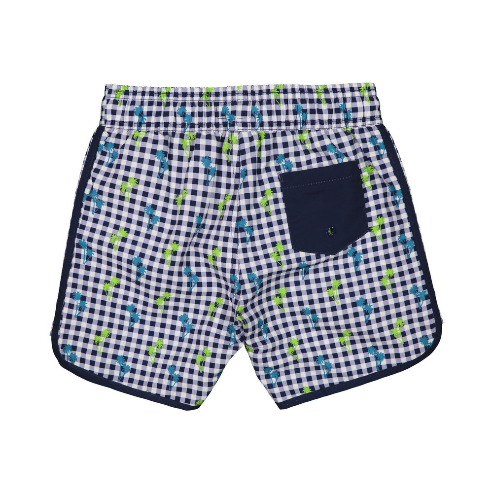Boy's  Navy Gingham Swim Trunk - Andy & Evan