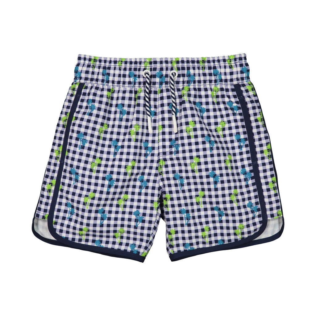 Boys  Navy Gingham Swim Trunk - Andy & Evan