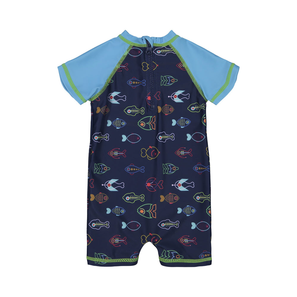 Infant Boy's Neon Fish One-Piece Rashgaurd - Andy & Evan