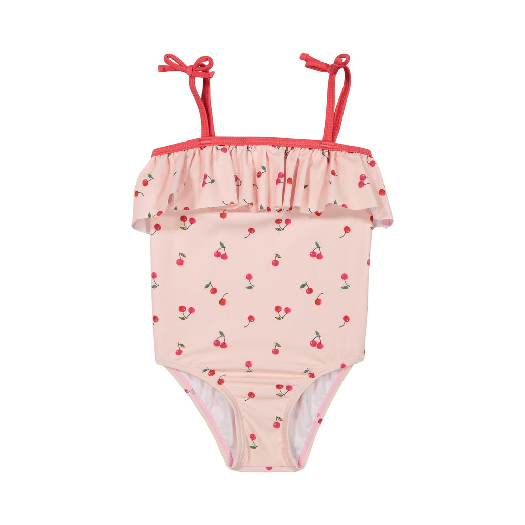 Girls Pink Cherry Ruffle Swimsuit - Andy & Evan