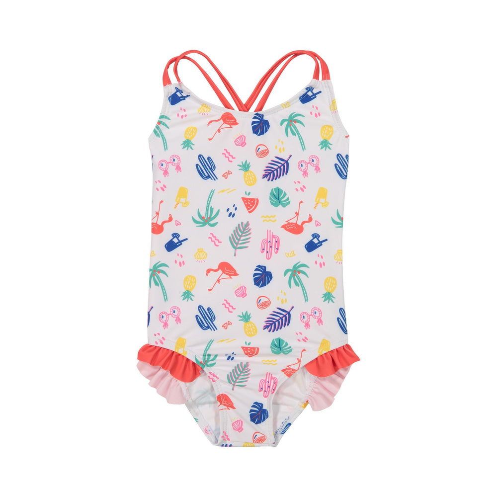 Girls White Summer Vibes Ruffle Swimsuit - Andy & Evan