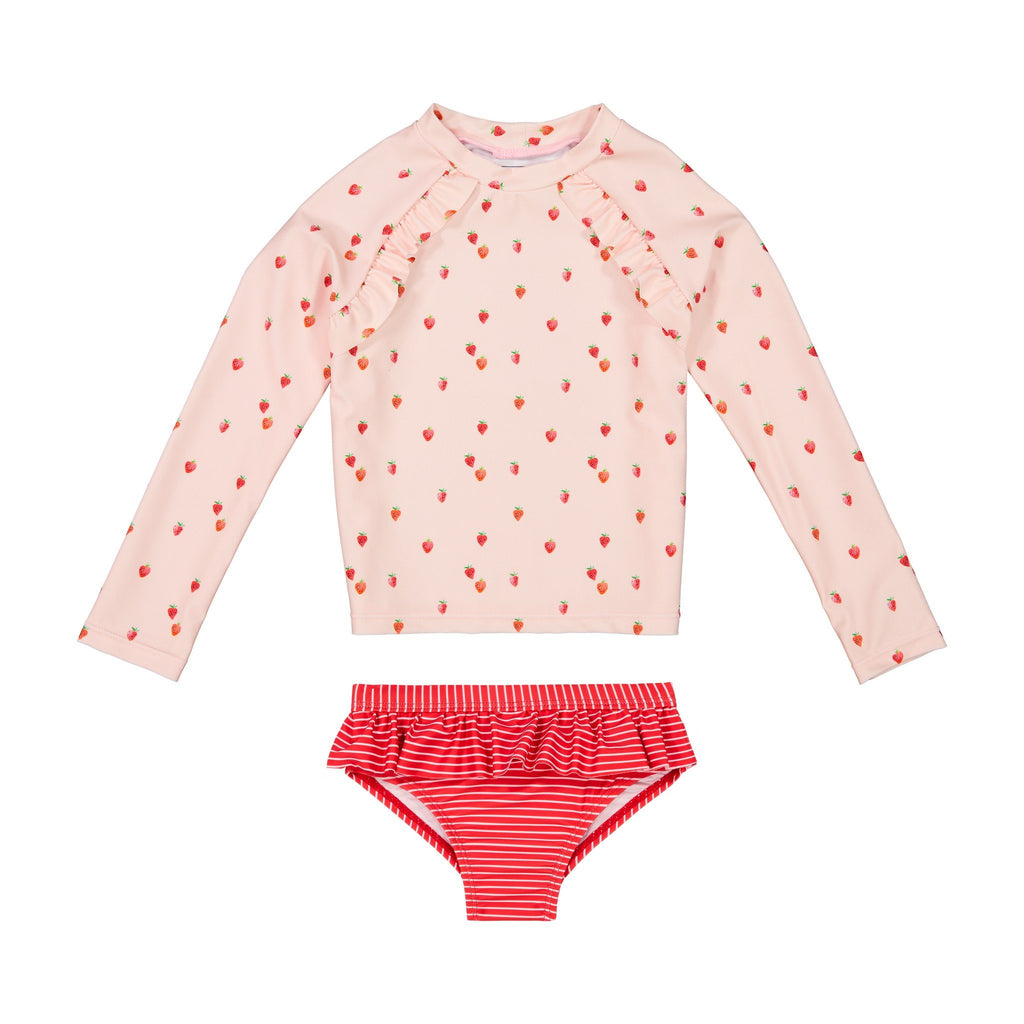 Infant Girls Pink Strawberry Rashgaurd Set - Andy & Evan