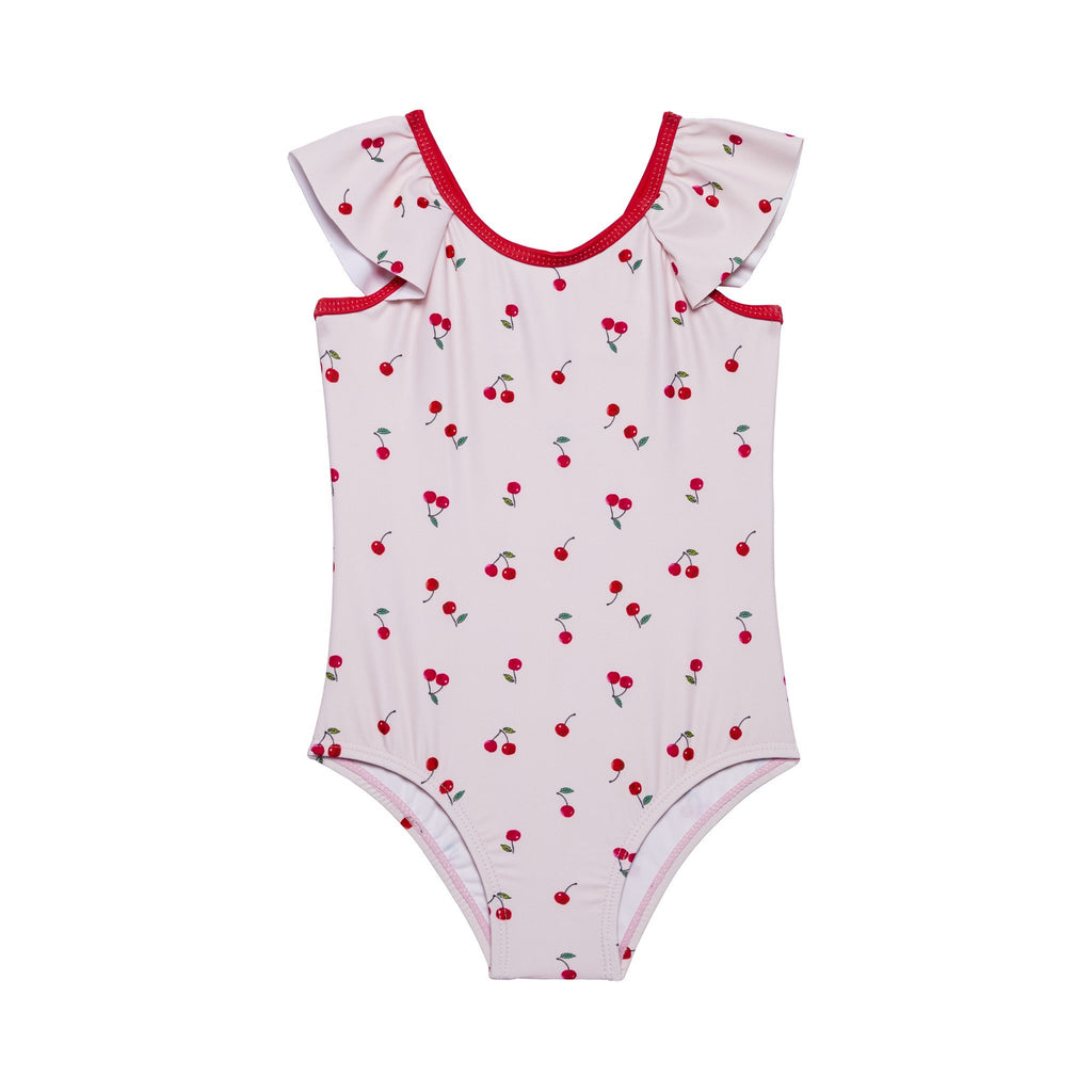 Infant Girl's Pink Cherry Bow Back Swimsuit - Andy & Evan
