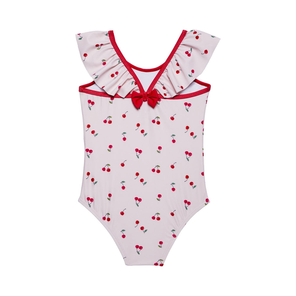 Girl's Pink Cherry Bow Back Swimsuit - Andy & Evan