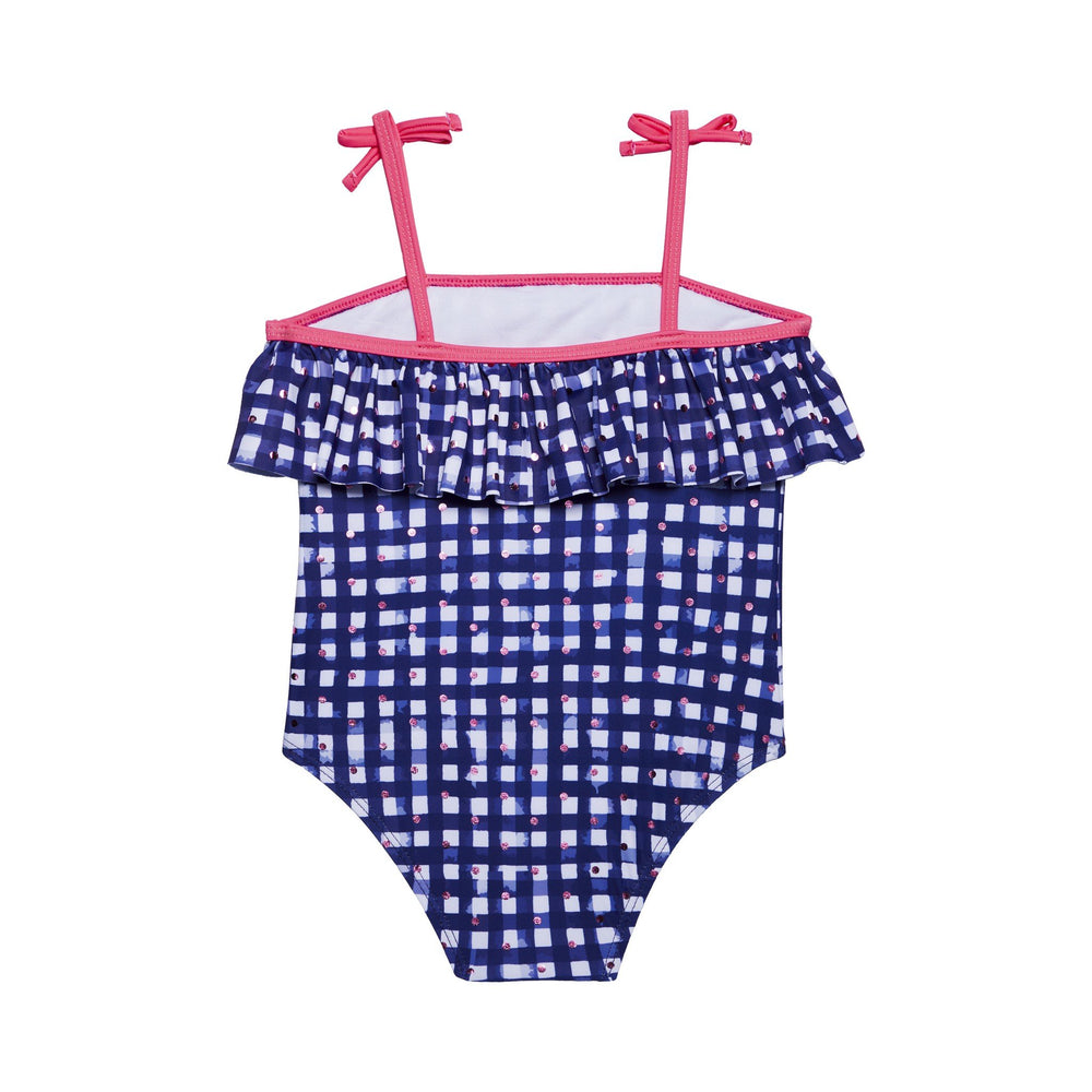 Girl's Navy Gingham Ruffle Swimsuit - Andy & Evan