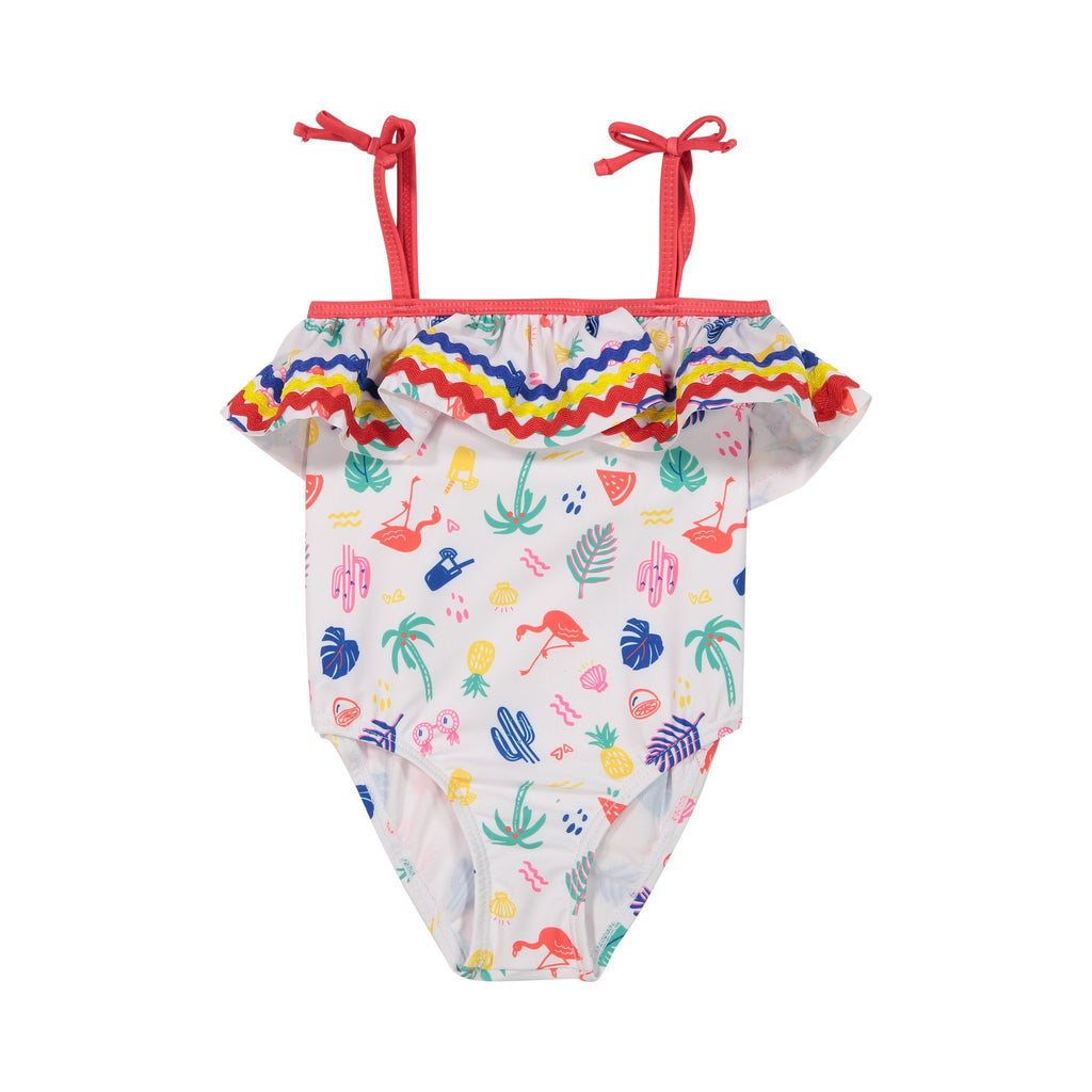 Infant Girl's Rainbow Ruffled Summer Vibes Swimsuit - Andy & Evan