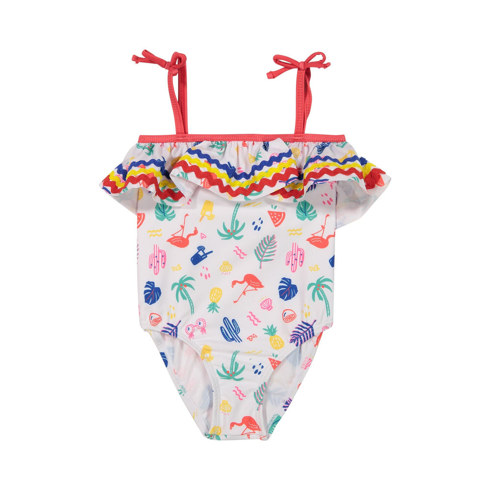 Girls Rainbow Ruffled Summer Vibes Swimsuit - Andy & Evan