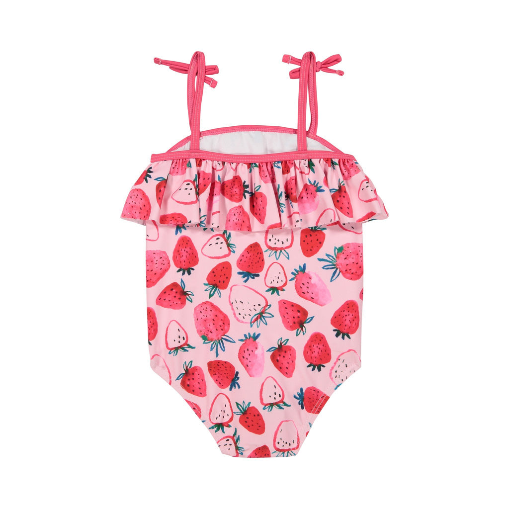 Girl's Pink Strawberry  Ruffle Swimsuit - Andy & Evan