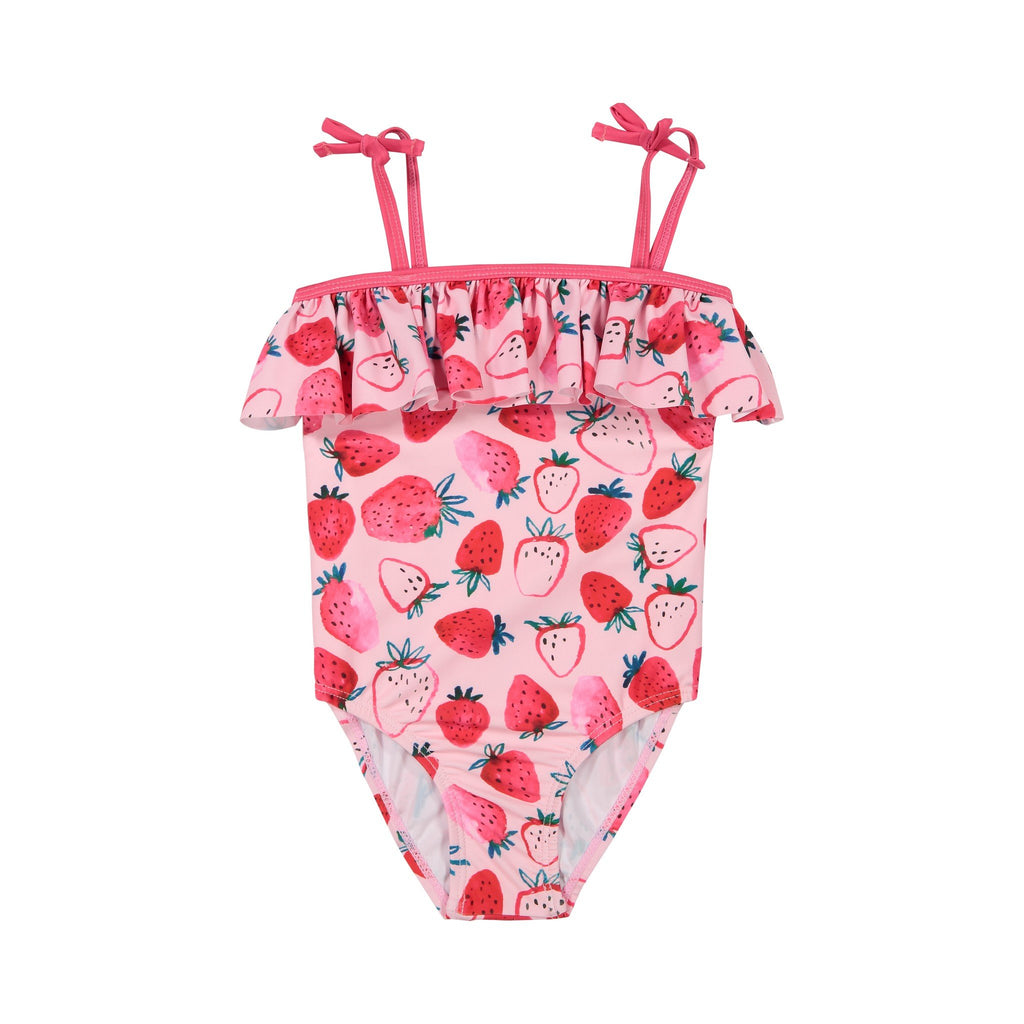 Girls Pink Strawberry  Ruffle Swimsuit - Andy & Evan