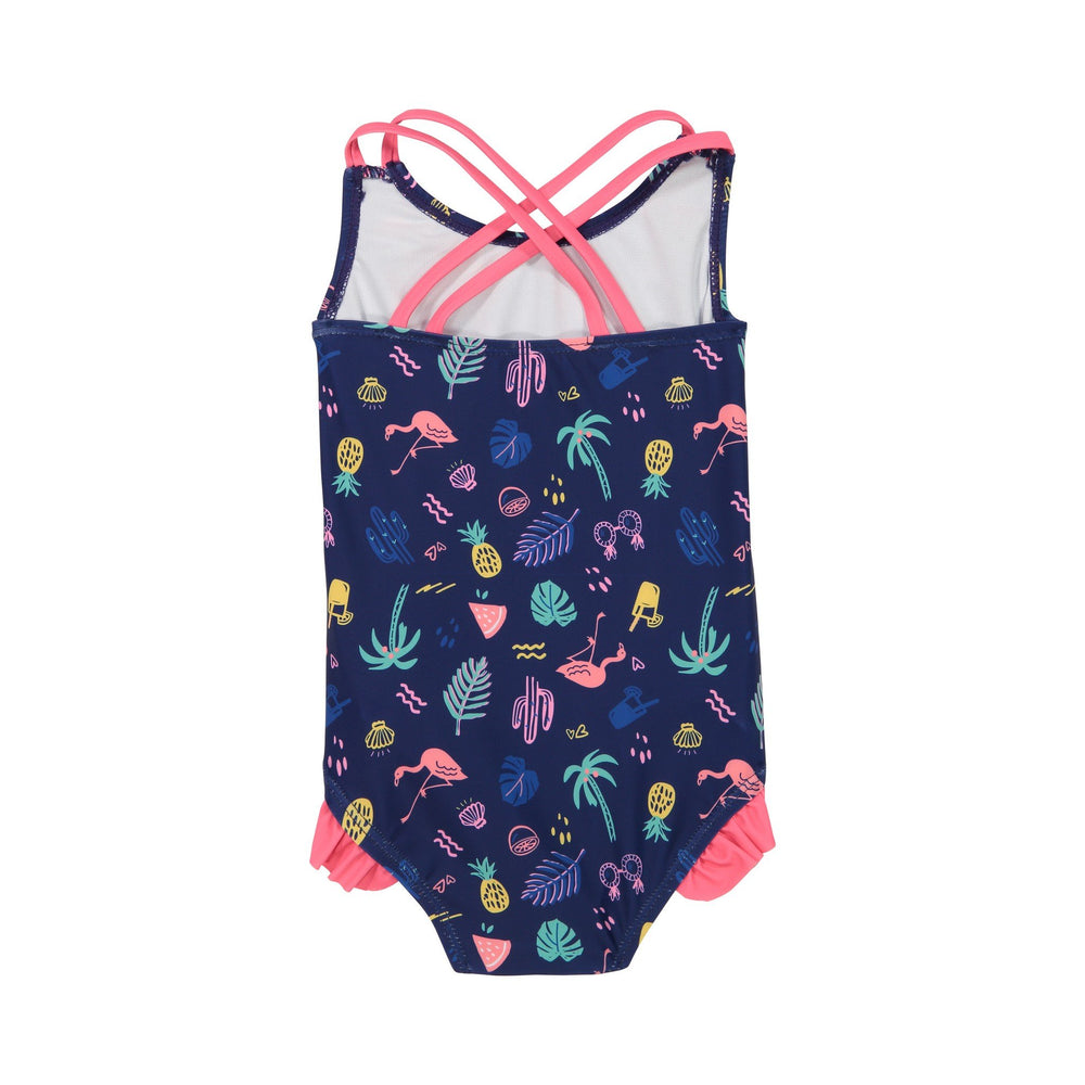 Infant Girls Navy Neon One-Piece Swimsuit - Andy & Evan