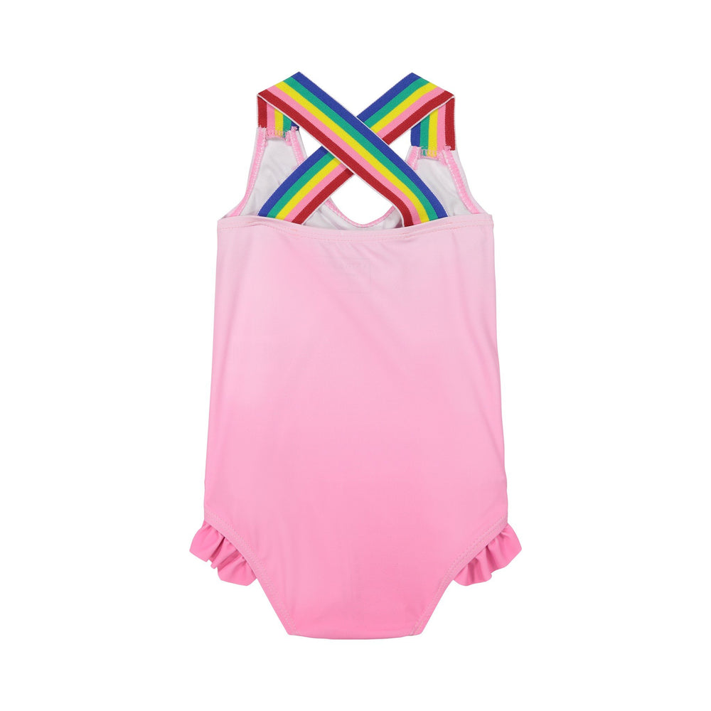 Girl's Pink Criss Cross Swimsuit - Andy & Evan