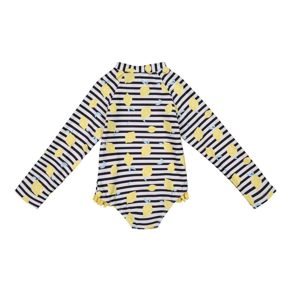 Infant Girl's Bottom Ruffle Striped Lemon Swimsuit - Andy & Evan