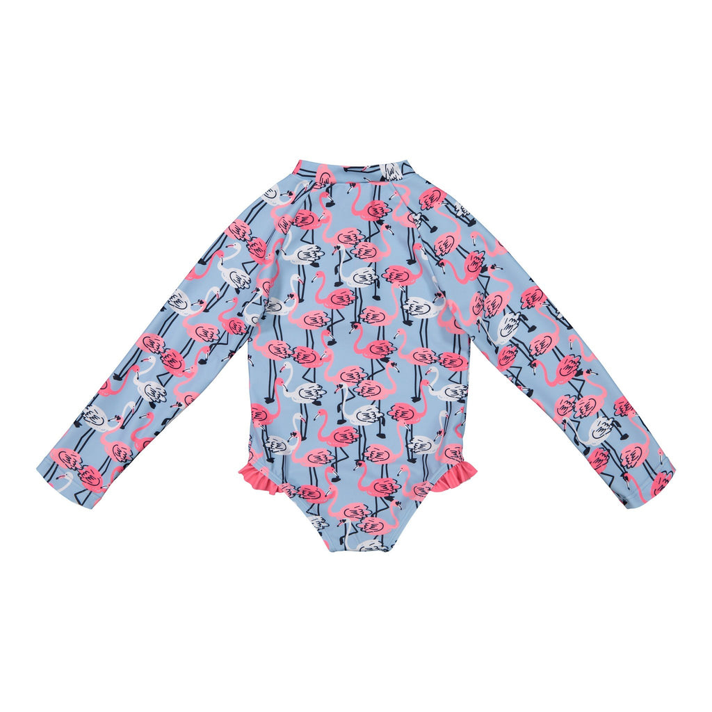 Girl's Bottom Ruffle Flamingo Swimsuit - Andy & Evan