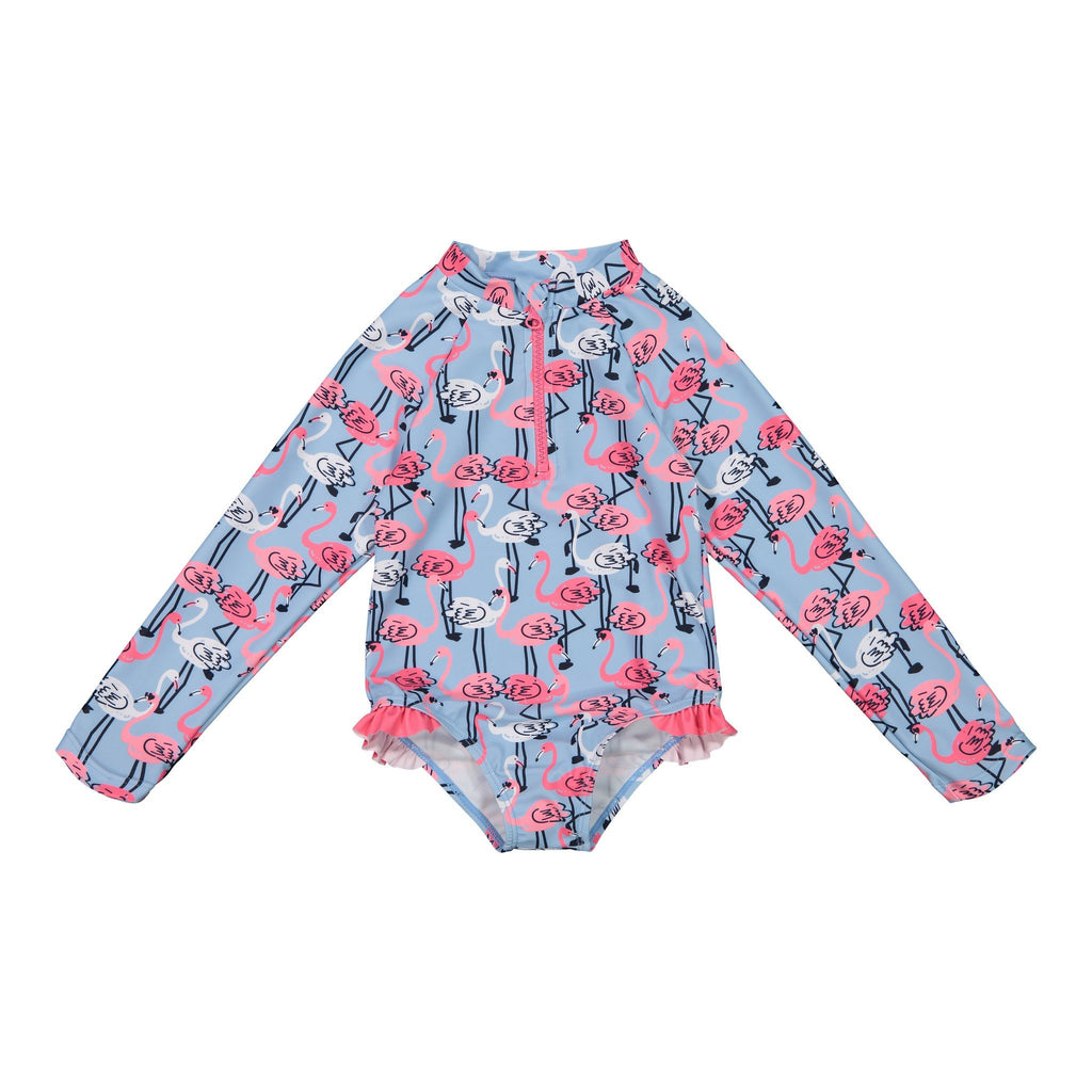 Girls Bottom Ruffle Flamingo Swimsuit - Andy & Evan