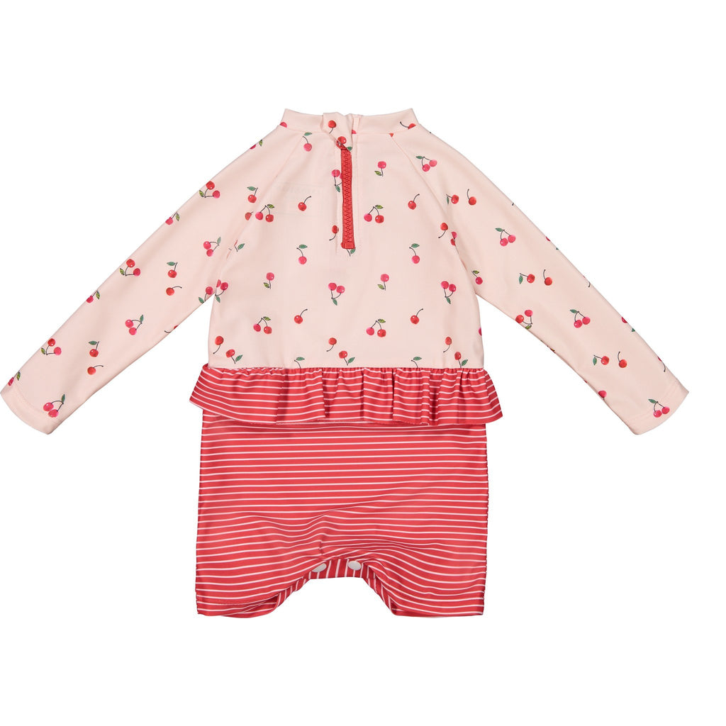 Infant Girl's Pink Cherry Romper Rashguard - Andy & Evan