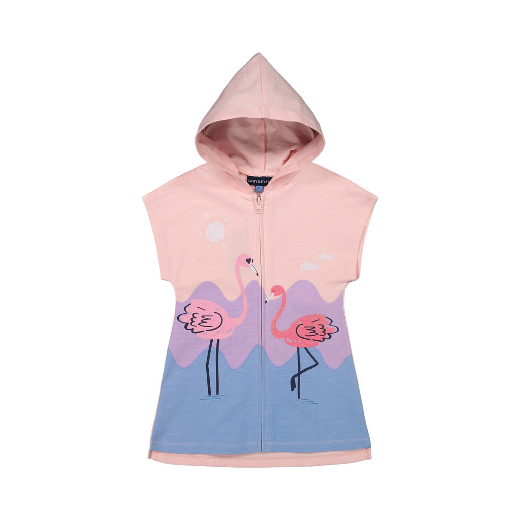 Girls Pink Sleeveless Flamingo Cover Up - Andy & Evan