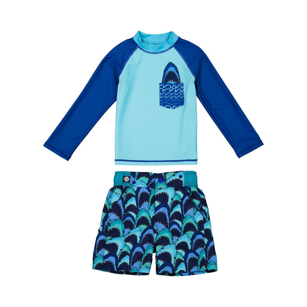 Boy's  Shark Rashgaurd Set - Andy & Evan