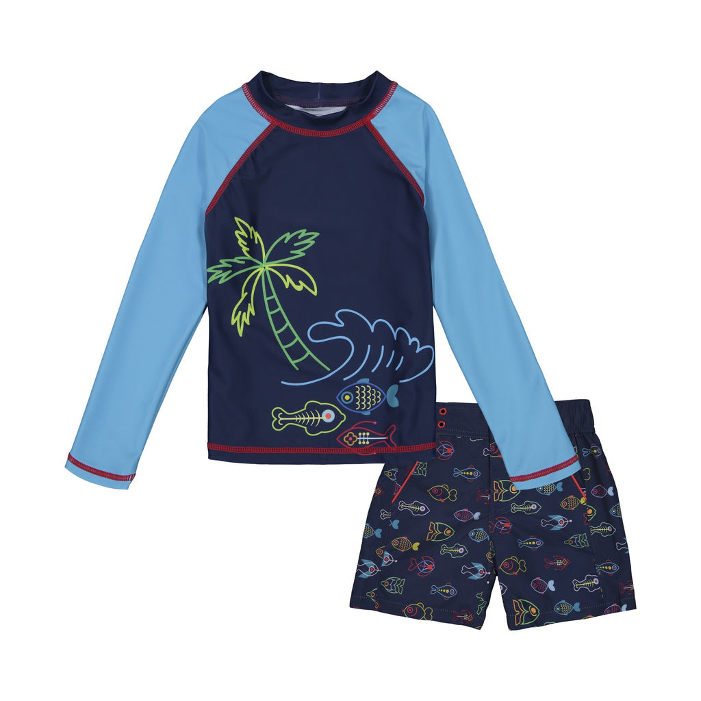 Boy's  Neon Fish Rashguard Set - Andy & Evan