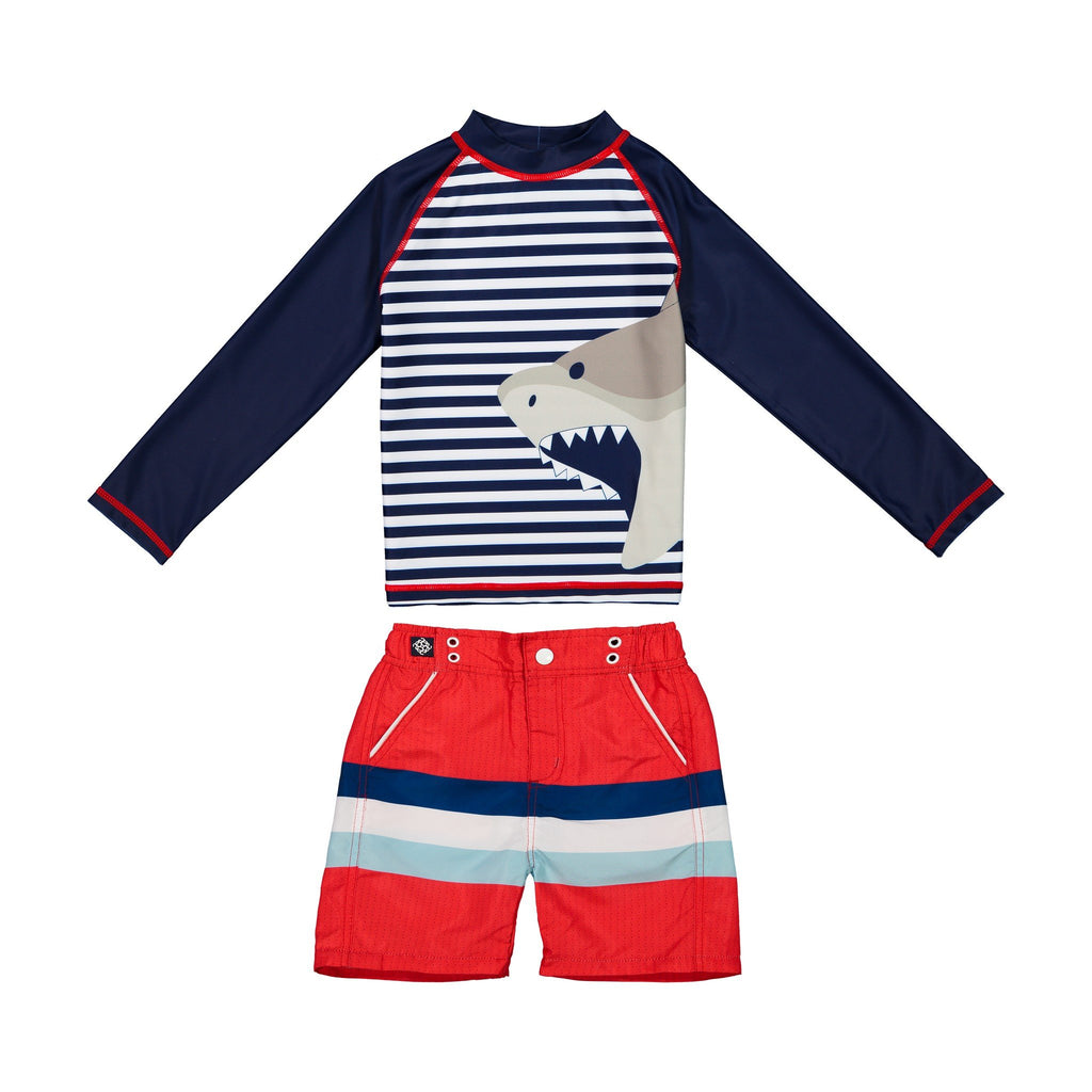 Boy's Striped Shark Rashgaurd Set - Andy & Evan