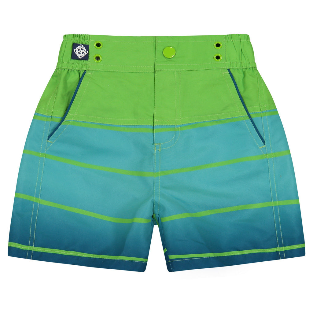 Father & Son | Aqua Stripe Swim Trunks - Andy & Evan