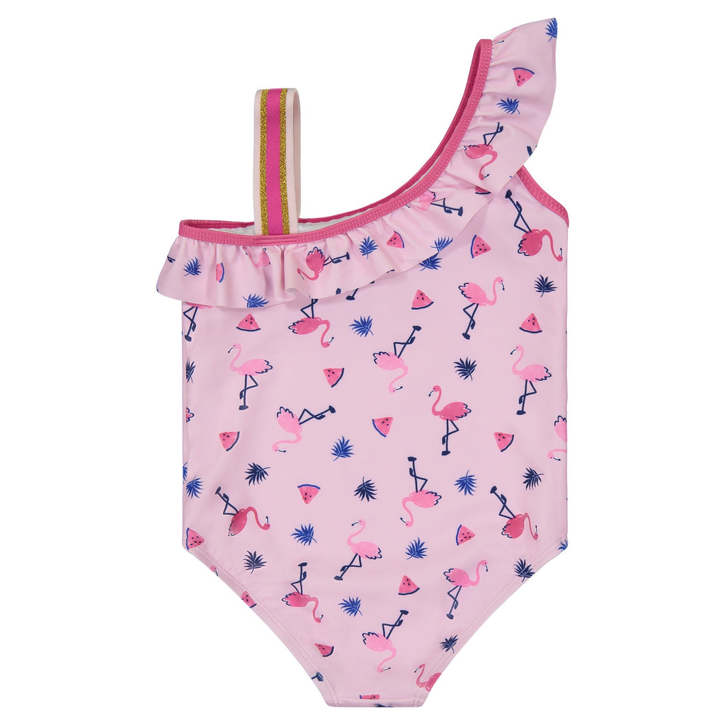 UPF 50 Girls Flamingo One-Shoulder Swimsuit - Andy & Evan