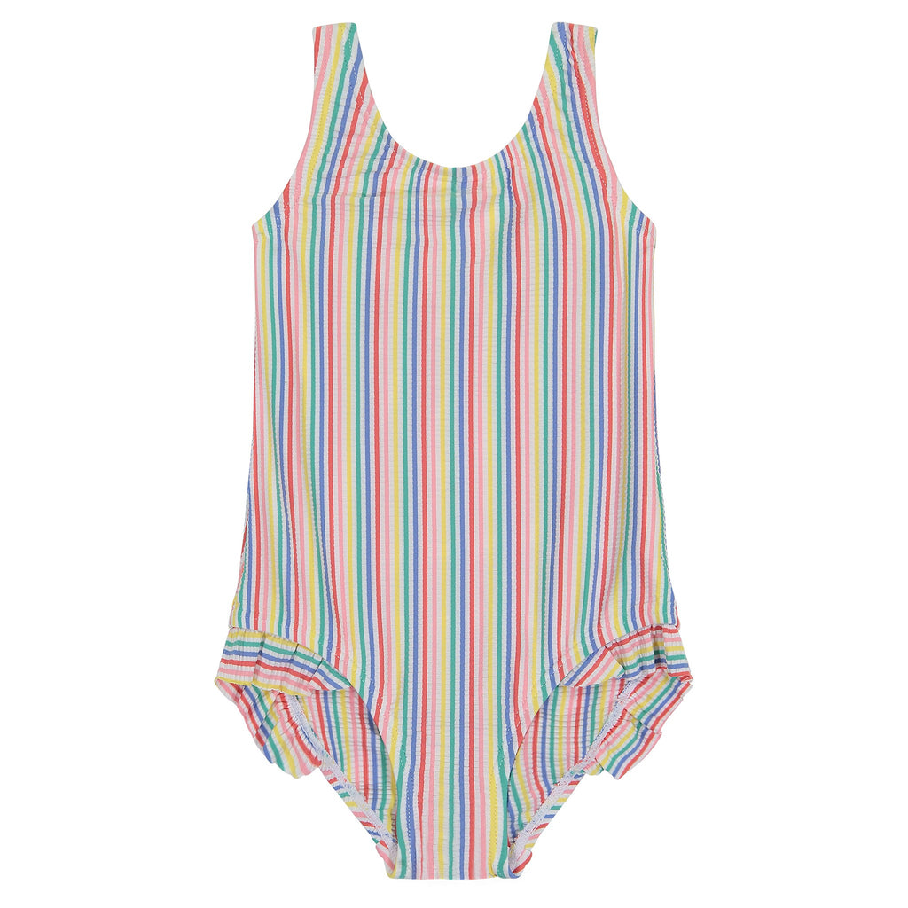 UPF 50 Girls Pastel Stripe Ruffle Swimsuit - Andy & Evan