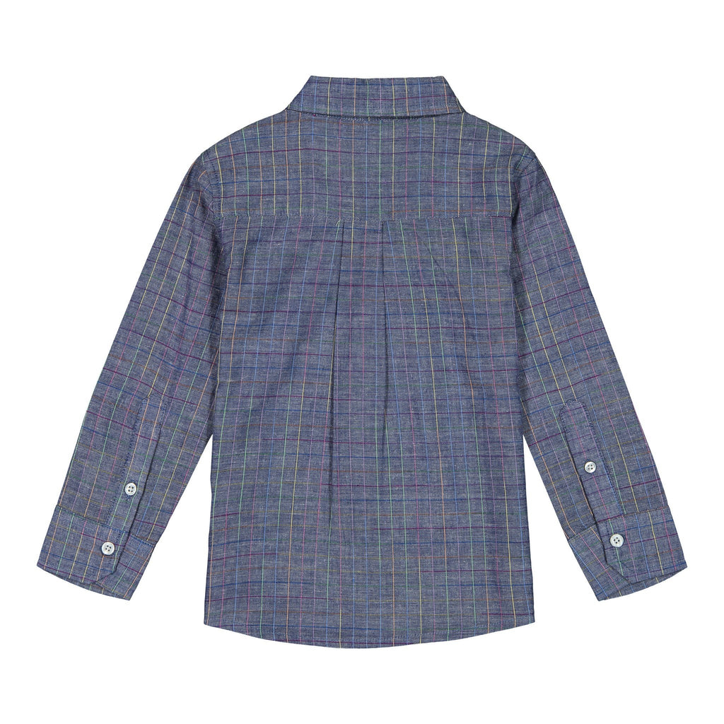 Boys Blue Multi-Check Button Down Shirt - Andy & Evan