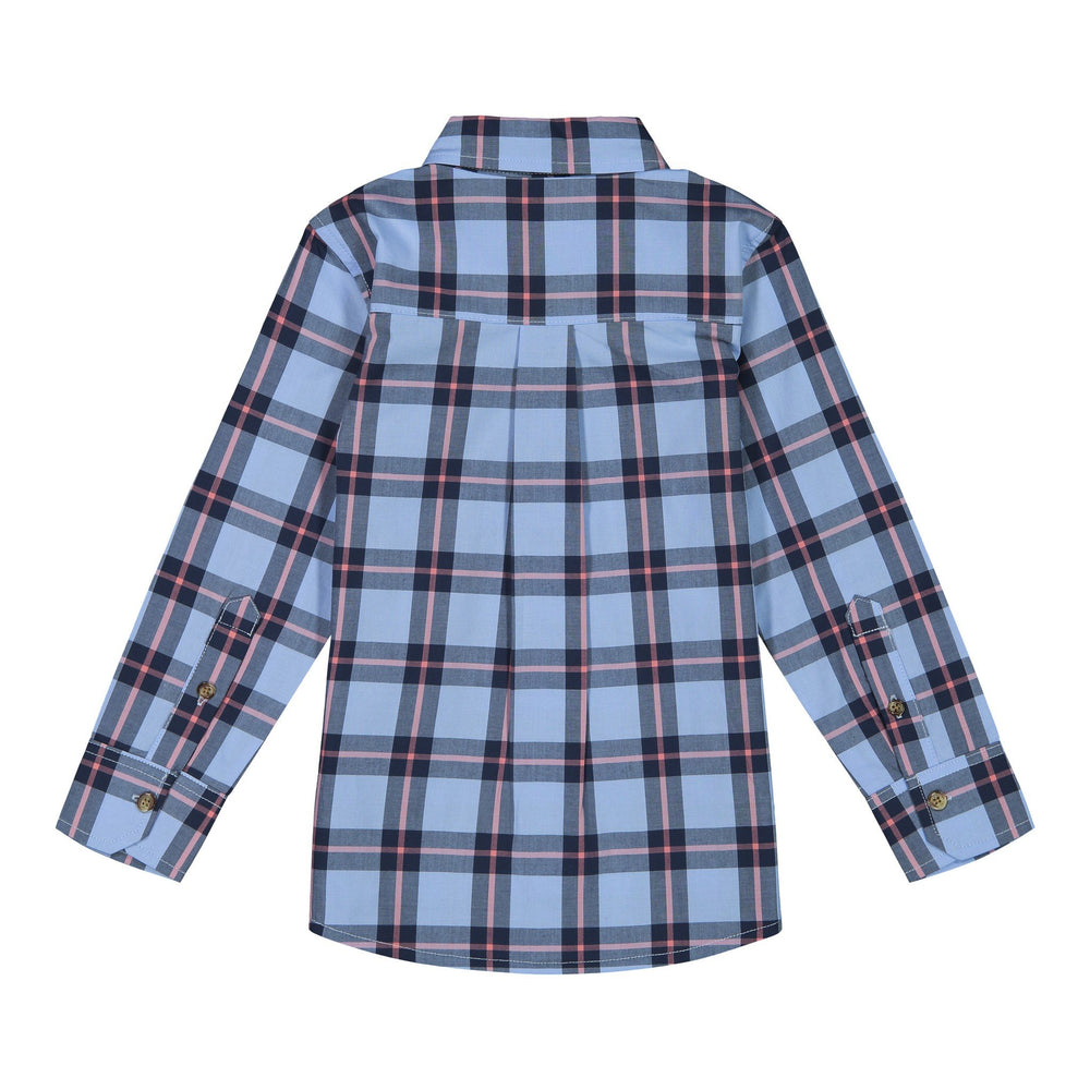 Boys Coral Plaid Shirt - Andy & Evan