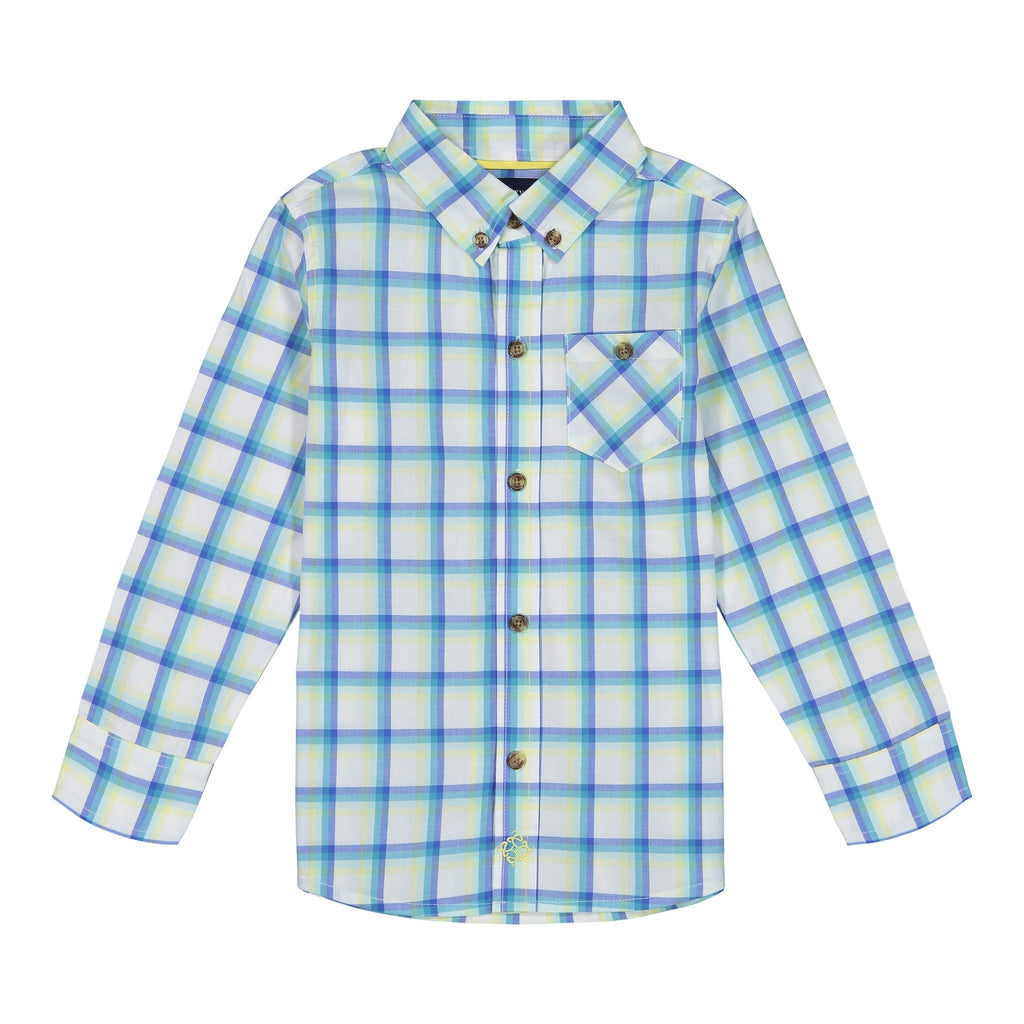 Boys Yellow & Green Madras Plaid Button Down Shirt - Andy & Evan