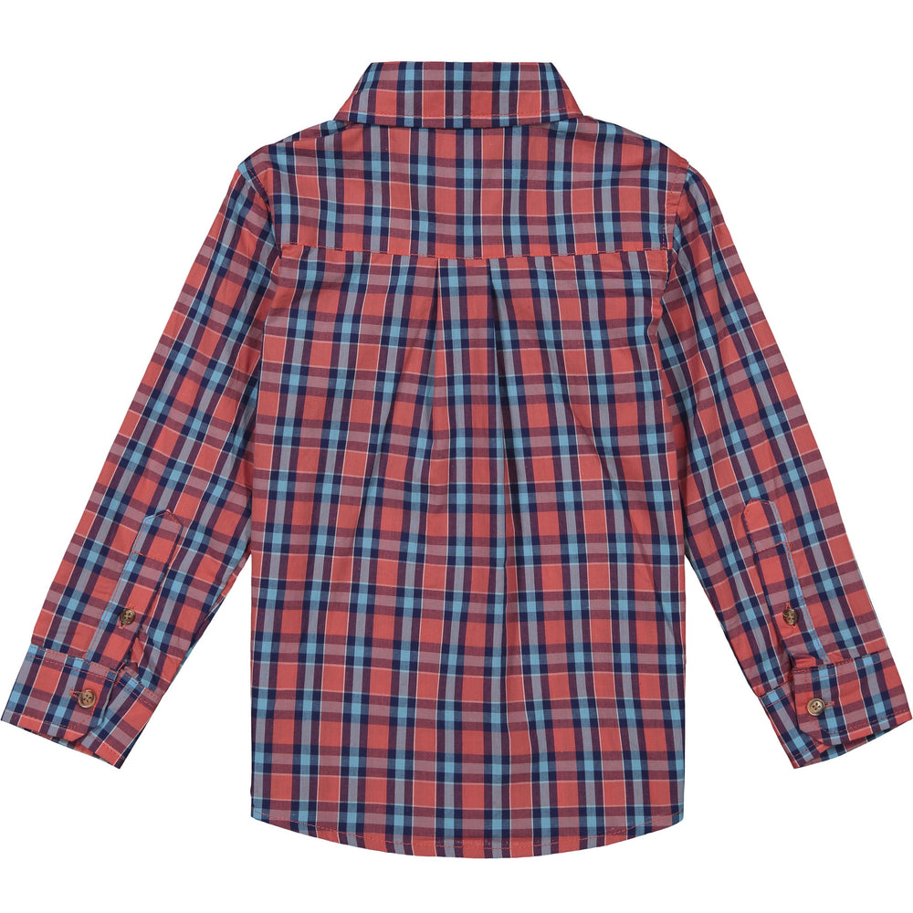 Boys Red & Blue Plaid Button Down Shirt - Andy & Evan