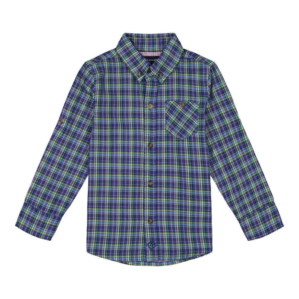 Boys Blue & Green Madras Plaid Button Down - Andy & Evan